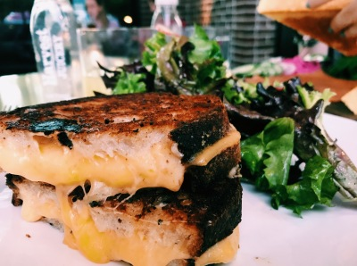 Grilled cheese with mixed greens